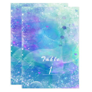 Watercolor Mermaid Tail Party Table Number Card