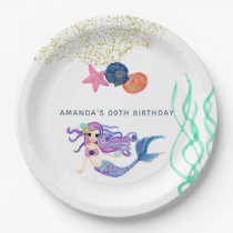 Watercolor Mermaid themed Birthday Party Paper Plate