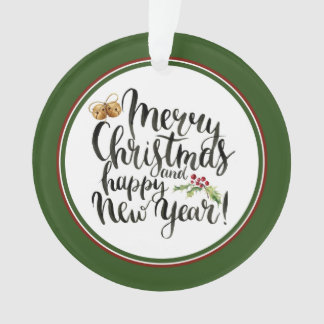 Watercolor Merry Christmas and Happy New Year Ornament