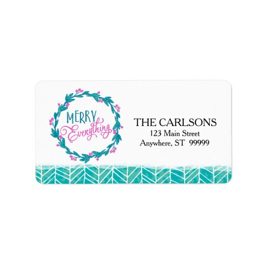 Watercolor Merry Everything Holiday Address Labels