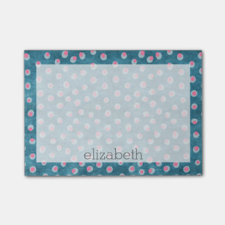 Watercolor Messy Polka Dots - blue and pink Post-it Notes