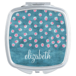 Watercolor Messy Polka Dots - blue and pink Travel Mirrors