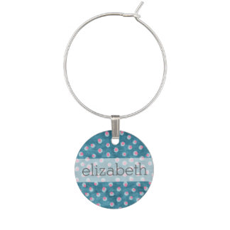 Watercolor Messy Polka Dots - blue and pink Wine Charm