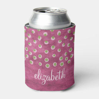 Watercolor Messy Polka Dots - green and pink Can Cooler