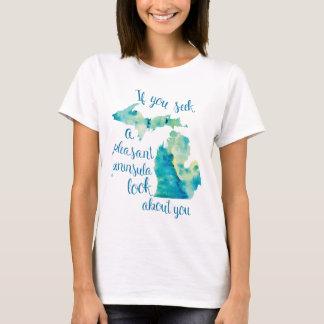Watercolor Michigan Love T-Shirt