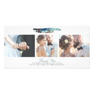 Watercolor Modern Beach Photo Wedding Thank You Card