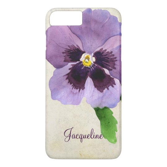 Watercolor Modern Bold Pansy Floral Personalised iPhone 7 Plus Case