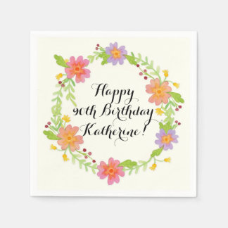 Watercolor Modern Floral Birthday Party Decor Disposable Napkins