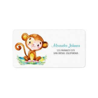Watercolor Monkey Boy Address Label