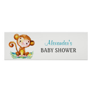 Watercolor Monkey Boy Baby Shower Banner Poster