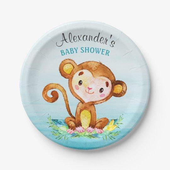 Watercolor Monkey Boy Baby Shower Paper Plate