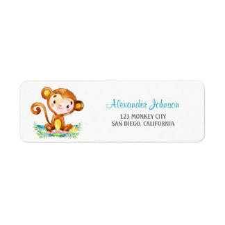 Watercolor Monkey Boy Return Address Label