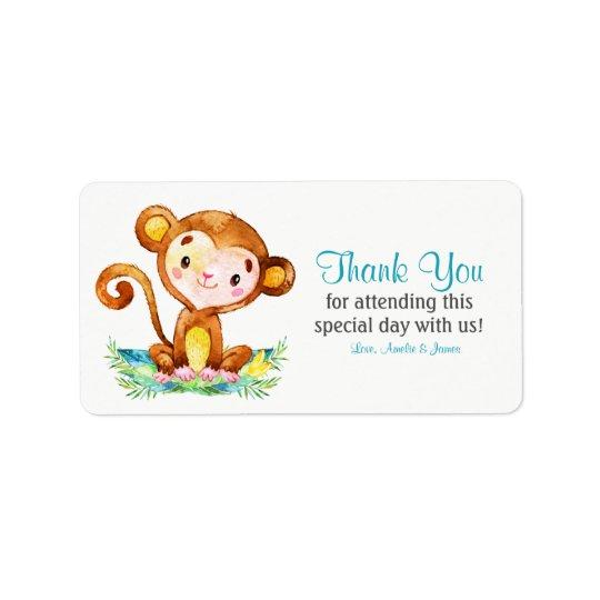 Watercolor Monkey Boy Thank You Label