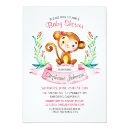Watercolor monkey invitations announcements zazzle watercolor monkey girl baby shower invitation filmwisefo Gallery