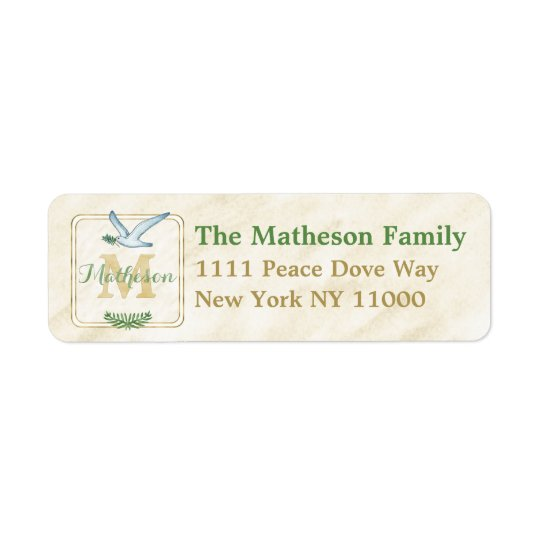 Watercolor Monogram Green and Gold Typography Return Address Label