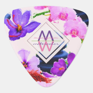 Watercolor Monogram Saffron and Orchid Flowers Zen Plectrum