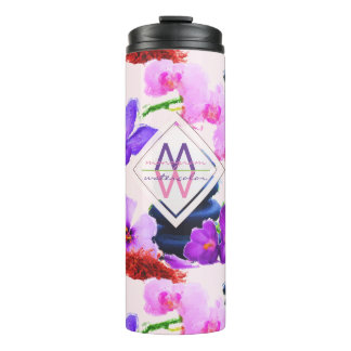 Watercolor Monogram Saffron and Orchid Flowers Zen Thermal Tumbler
