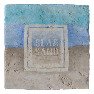 Watercolor Monogram Sea & Sand Blue and Tan Trivet