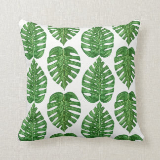 Watercolor Monstera Leaves Cushion