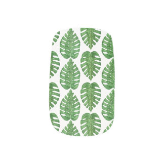 Watercolor Monstera Leaves Minx Nail Art