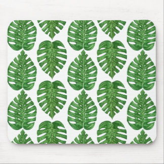 Watercolor Monstera Leaves Mouse Pad