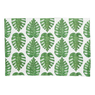 Watercolor Monstera Leaves Pillowcase