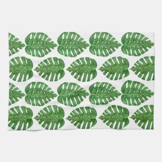 Watercolor Monstera Leaves Tea Towel
