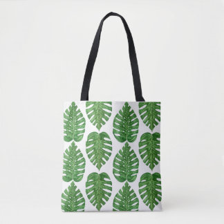 Watercolor Monstera Leaves Tote Bag