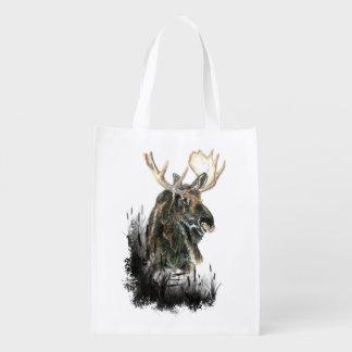 Watercolor Moose Animal art Reusable Grocery Bag