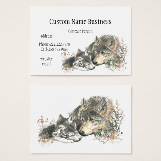 Watercolor Mother or Father Wolf with Cubs Business
