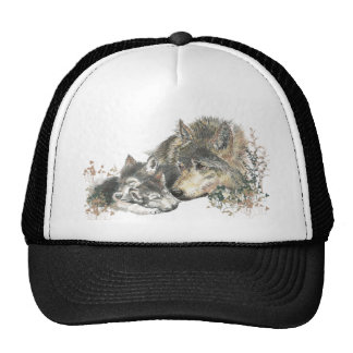 Watercolor Mother Wolf & Cubs Animal Art Cap