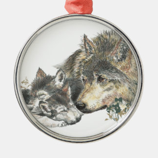 Watercolor Mother Wolf & Cubs Animal Art Christmas Ornament