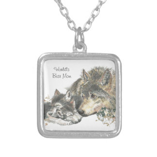 Watercolor Mother Wolf & Cubs Worlds Best Mom Silver Plated Necklace