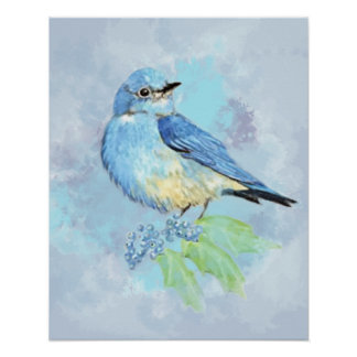 Watercolor Mountain Bluebird Bird Nature Art Poster