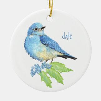 Watercolor Mountain Bluebird Blue Bird Art for the Christmas Ornament