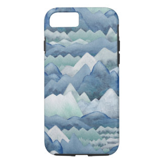 Watercolor Mountains in Winter iPhone Case