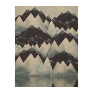 Watercolor Mountains Wood Print