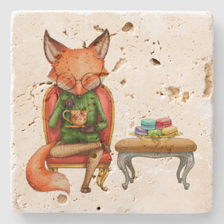Watercolor Mr. Fox Having Tea and Macaroons Stone Beverage Coaster