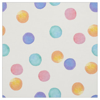 Watercolor .Multi-colored polka dots . Fabric