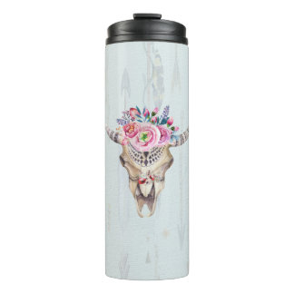 Watercolor Multicolored Bull Skull Thermal Tumbler