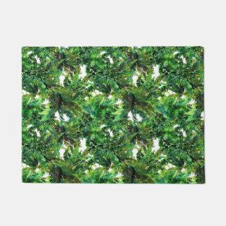 Watercolor mushrooms and green fern fall pattern doormat