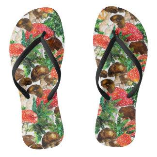 Watercolor  mushrooms and green fern pattern flip flops