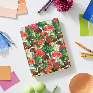 Watercolor  mushrooms and green fern pattern iPad cover