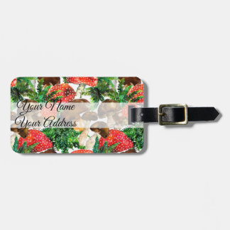 Watercolor  mushrooms and green fern pattern luggage tag
