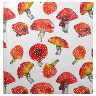 Watercolor mushrooms Cute fall pattern Napkin