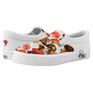 Watercolor mushrooms Cute fall pattern Slip On Shoes