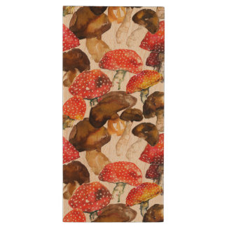 Watercolor mushrooms Cute fall pattern Wood USB Flash Drive