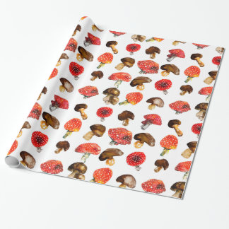 Watercolor mushrooms Cute fall pattern Wrapping Paper