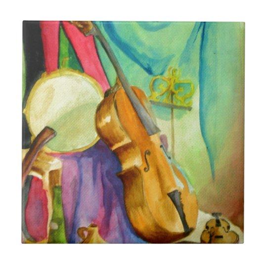 Watercolor Music Small Square Tile