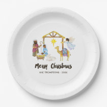 Watercolor Nativity Christmas Party Paper Plate